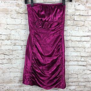 Cache Satin Strapless Pink Flower Mini Dress
